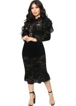 Schwarzes, elegantes Partykleid mit Fischschwanzsaum