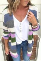 Wide Stripped Long Sleeve Cardigans