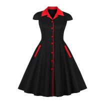 Rotes und schwarzes Vintage-Kleid in Übergröße mit Flügelärmeln