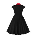 Plus Size Abito vintage rosso e nero con maniche a cappuccio