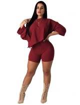 Long Sleeve Irregular Loose Top and Tight Shorts