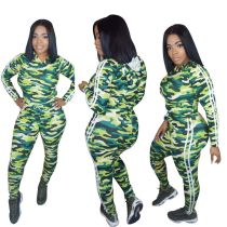 Camou Print Long Sleeve Tight Hoody Top and Leggings