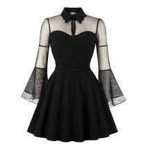 Vintage Black Mesh A-Line Dress