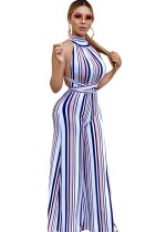 Sexy Open Back Stripped Scoop Jumpsuit