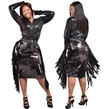 Black Leather Wrapped Top and Sequins Fringe Skirt