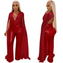 Uzun Kollu ile Sequins Kırmızı Clubbing Tulum