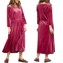 Rotes Samt Langes Kleid mit 3 / 4 Ärmeln