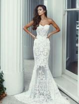 Weiße Blume trägerlosen Meerjungfrau Abendkleid