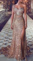 Sequins High Cut One Shoulder Evening Dress