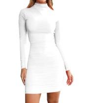 Einfarbig langärmeliges, gerafftes, figurbetontes Kleid