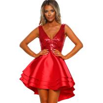 Sequins Upper Sleeveless Skater Dress