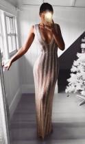 Pailletten ärmelloses Plung langes formales Kleid
