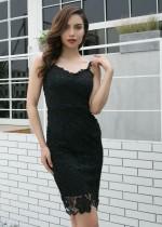 Overall slanke jurk met kanten bandjes