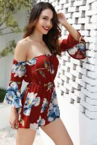 Long Sleeve Strapless Floral Rompers