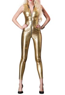 Sexy Sleeveless Metallic PU Jumpsuit Lingerie