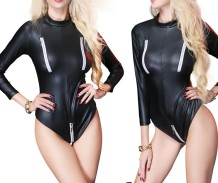 Sexy Long Sleeve Leather Bodysuit Lingerie
