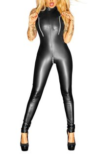 Sexy Sleeveless One-Piece Long Leather Lingerie