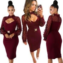 Paillettes supérieure robe de soirée rouge à manches longues