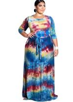 Plus Size Imprimir O-Neck Maxi Dress