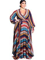 Plus Size Print - Maxi-Kleid mit Pop-Ärmeln