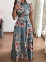 Vestido largo estampado flor con mangas cortas