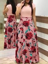 Vestido Largo Estampado Flor Con Manga Cap