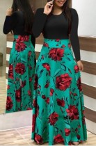 Vestido Largo Estampado Flor Con Manga Larga