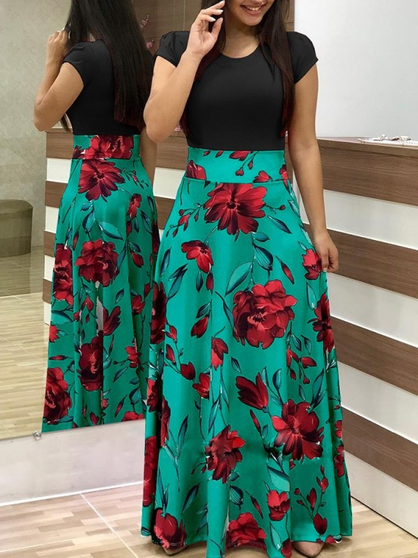 Print Flower Long Dress with Cap Sleeves
