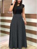 Print Polka Long Dress with Cap Sleeves