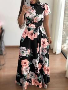 Imprimir vestido longo flor com mangas curtas