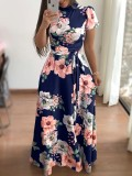 Print Flower Long Dress with Short Sleeves