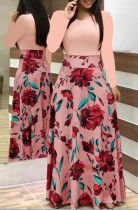 Print Flower Long Dress with Long Sleeves