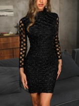 Vestido elegante negro Bling Bling