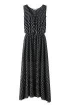 Ärmelloses, langärmliges Kleid mit O-Ausschnitt