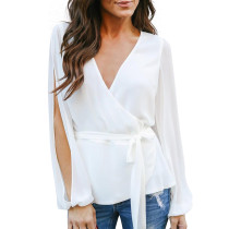 Plain Color Wrapped Blouse with Split Sleeves