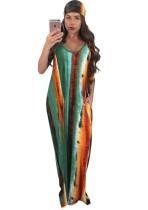 Robe longue à bretelles imprimées