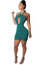 Sexy Cut Out Halter Party Dress with Wrap Hem