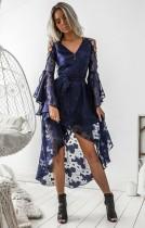 Robe formelle à manches longues en dentelle bleue