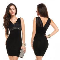 Seksi Siyah Kolsuz V Yaka Mini Club Elbise