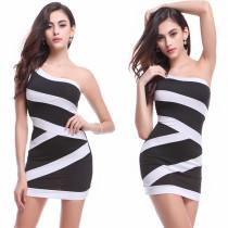 Sexy Wide Stripped One Shoulder Mini Club Dress