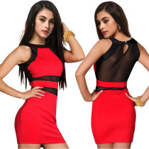 Mesh Detaylar ile Seksi Kolsuz Mini Club Elbise