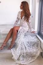 Dentelle blanche robe de soirée à manches longues