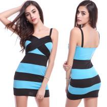 Sexy Wide Stripped Straps Mini Club Dress