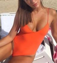 Einfarbige einteilige Riemen Badebekleidung