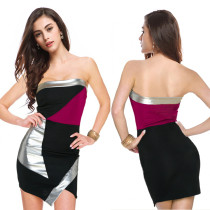 Seksi Straplez Kontrast Düzensiz Mini Tüp Elbise