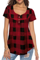 Print Plaid Kurzarm Basic Shirt