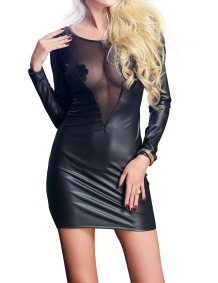Black Mesh and Leather Lingerie Dress