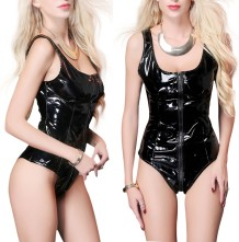 Black Leather One-Piece Bodysuit Lingerie