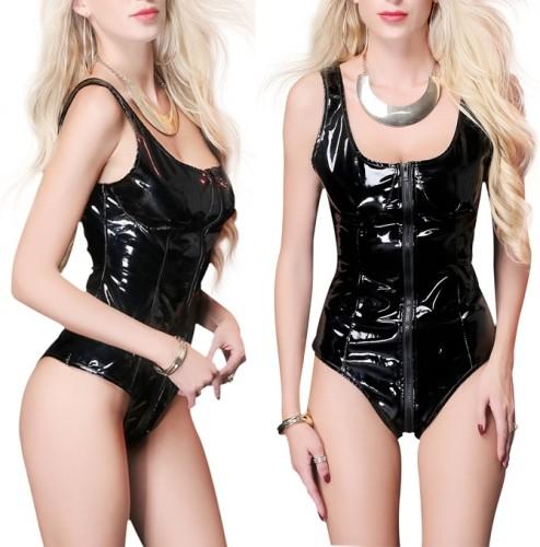 Zwart lederen Bodysuit-lingerie uit één stuk
