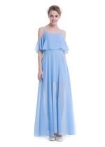 Correas de color liso vestido largo de gasa